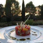 Dessert at sunset on our terrace of petit hotel Bastide Avellanne